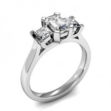 Mixed Shapes White Gold Trilogy Diamond Rings