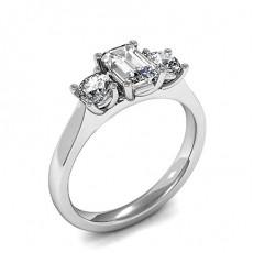 4 Prong Setting Plain Three Stone Ring - HMTR3401_01