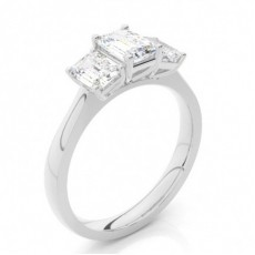 4 Prong Setting Plain Three Stone Ring