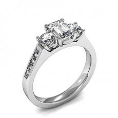 Formes Mixtes Platine Trilogie Bague Diamant