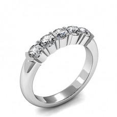 Semi Bezel & 4 Prong Setting Plain Five Stone Ring