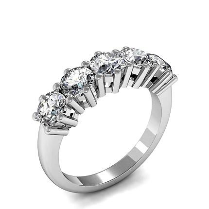 6 Prong Setting Plain Five Stone Ring