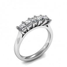 Princess White Gold 5 Stone Diamond Rings