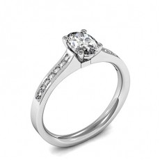 Oval White Gold Side Stone Diamond Engagement Rings