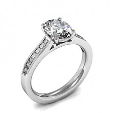Oval Side Stone Diamond Engagement Rings