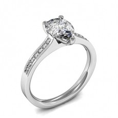 Pear Side Stone Diamond Engagement Rings