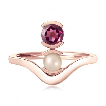 Sacet Belle Stacked Garnet And Moonstone Ring - ALTR05_RV