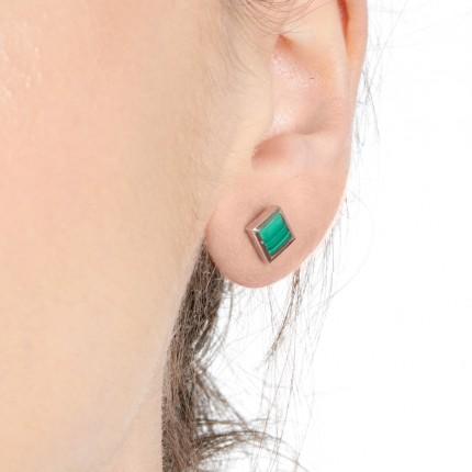 Sacet Ornate Square Malachite Earrings - BLDE02_RV